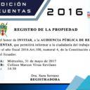 Rendición de Cuentas 2016 del Registro de la Propiedad
