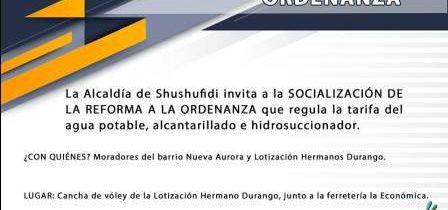 6 INVITACIÓN: SOCIALIZACIÓN DE REFORMA A ORDENAZA QUE REGULA LA TARIFA DEL AGUA POTABLE