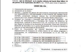 CONVOCATORIA A SESIÓN ORDINARIA DE CONCEJO – JUEVES 14 DE SEPTIEMBRE DEL 2017